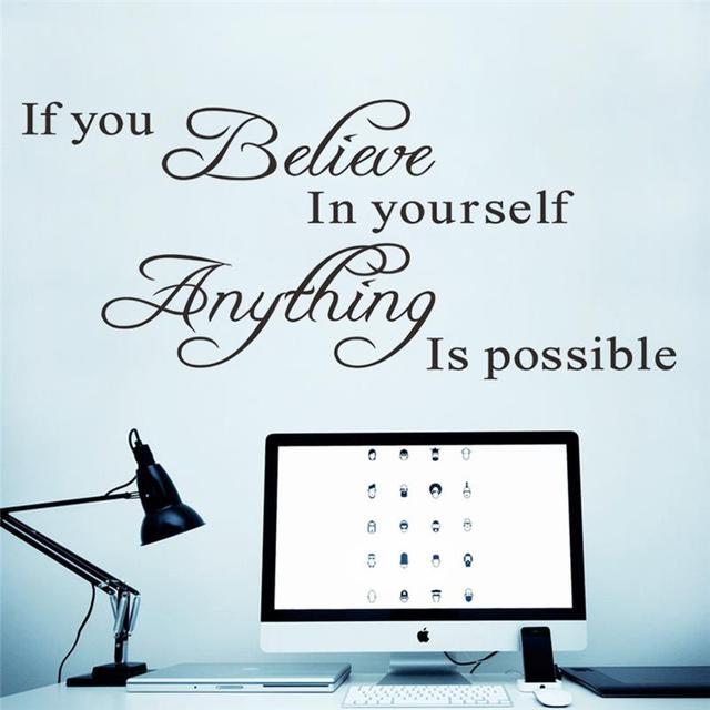 If You Believe In Yourself Inspirational Quotes Wall Stickers Home  Decoration Decals 8037. Vinyl Adesivo Part 11