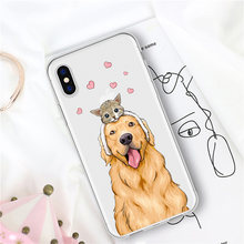 Phone Cases For iPhone X 8 6 7 6 Plus 5 5S SE MAX Cute Pet Animal Dog Cat Golden Retriever Labrador Transparent Silicone Coque(China)