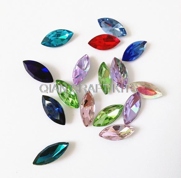 500pcs mix Vintage acrylic Rainbow colour Marquise Navette foiled pointed faceted rhinestones jewels approx 7mm x 15mm