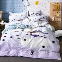 3D Printed Purple/White Totoro Walking Black Susuwatari Duvet Cover Set with White Stars 3PCS Anime Totoro Kids Home Bedding Set