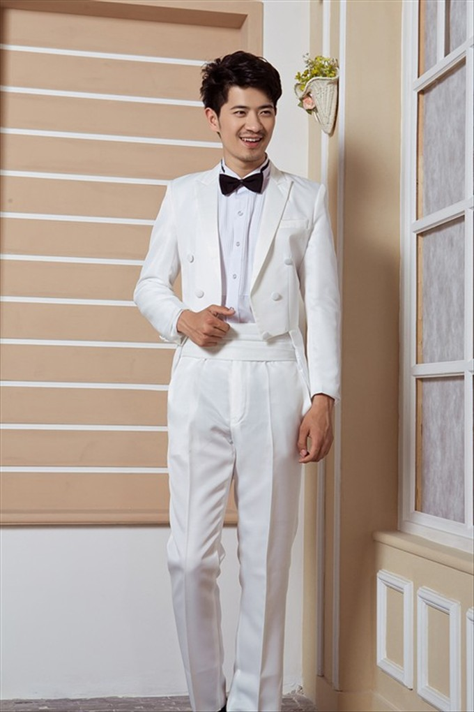 2015 Dinner Will Be Black And White Tuxedos Wedding Groom Tuxedo Men Tail Coat Suits Man Suit