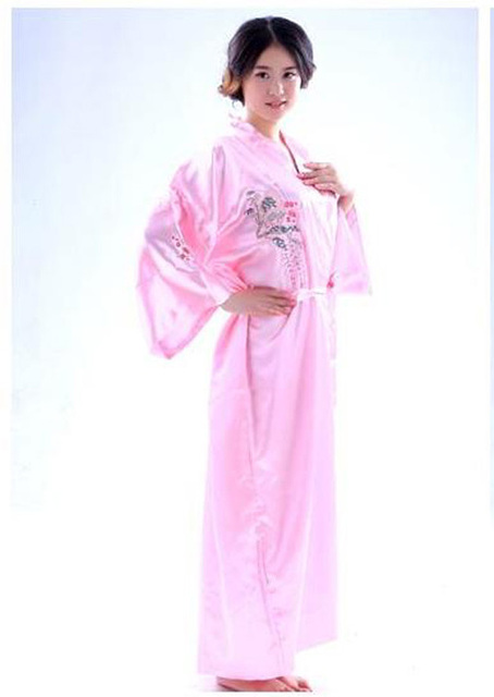 New Style Pink Chinese Women Satin Bathrobe Embroidery Kimono Gown Sexy Flower Sleepwear Sauna Lingerie Plus Size S-XXL