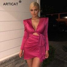 Vestido de fiesta de mujer Sexy sólido de otoño articulado de moda ahueca  hacia fuera Bodycon vendaje Mini vestido de club noctu. 30d0b120ae69