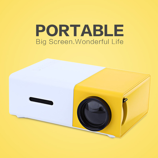 New arrival YG300 LED Portable Projector 400-600LM 3.5mm Audio 320x240 Pixels support HDMI USB Mini Projector Home Media Player