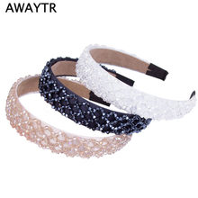 Fashion Handmade Crystal Wide Hairband Hair Band for Women 2019 New OL Lady Black Beaded Ribbon Headband Hair Accessories(China)