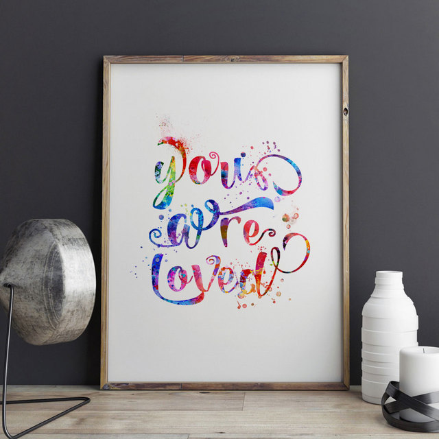 You Are Loved Quotes Home Wall Hanging Picture Kids Decor Art Watercolor Painting Love