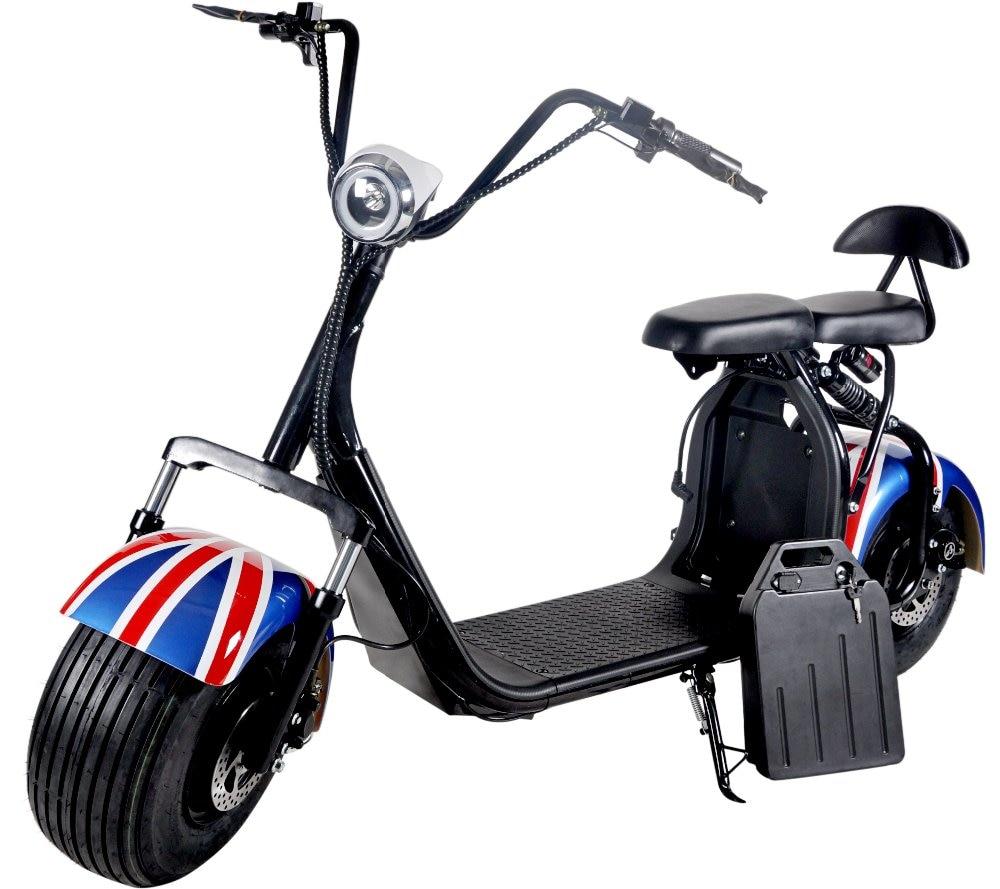 Électrique batterie au lithium Citycoco Scooter motos électriques Moto Electrica Puissance Affichage Tableau de Bord Double frein à disque