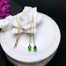 shilovem 925 sterling silver real Natural diopside Drop earrings fine Jewelry plant women trendy  wholesale new yhe030599agt