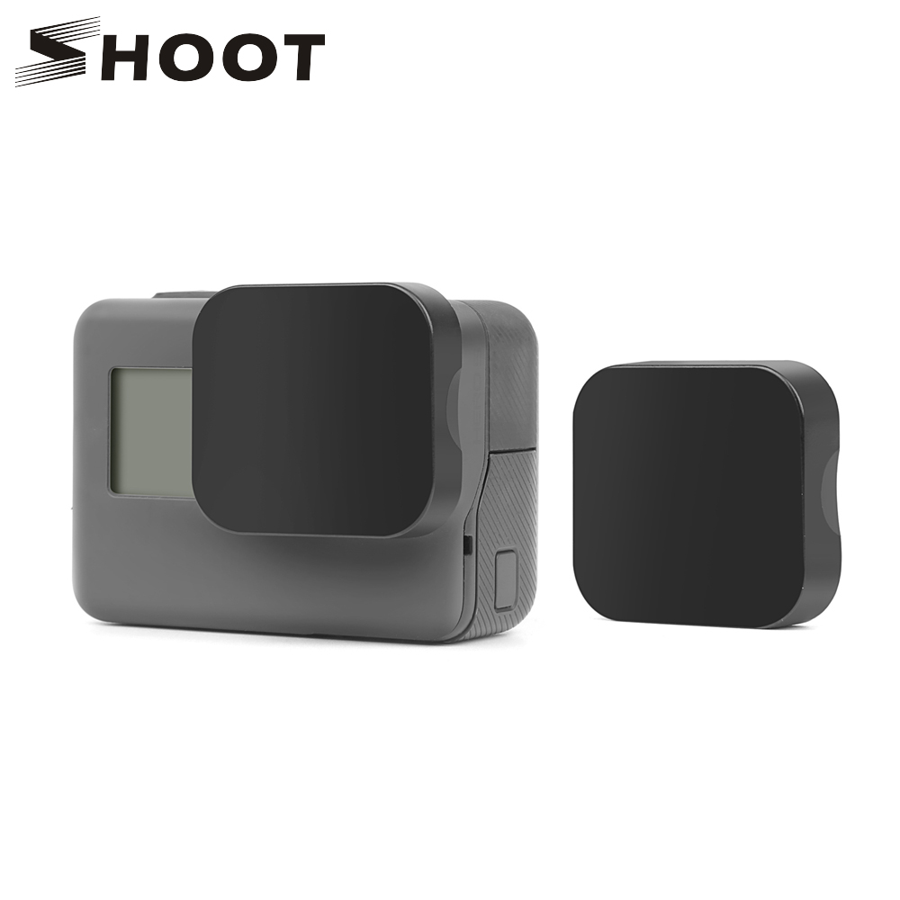 SHOOT Black Plastic Lens Cap For GoPro Hero 7 6 5 Black Edition Action Camera Go Pro 7 6 5 Accessories Protector Cover With Logo
