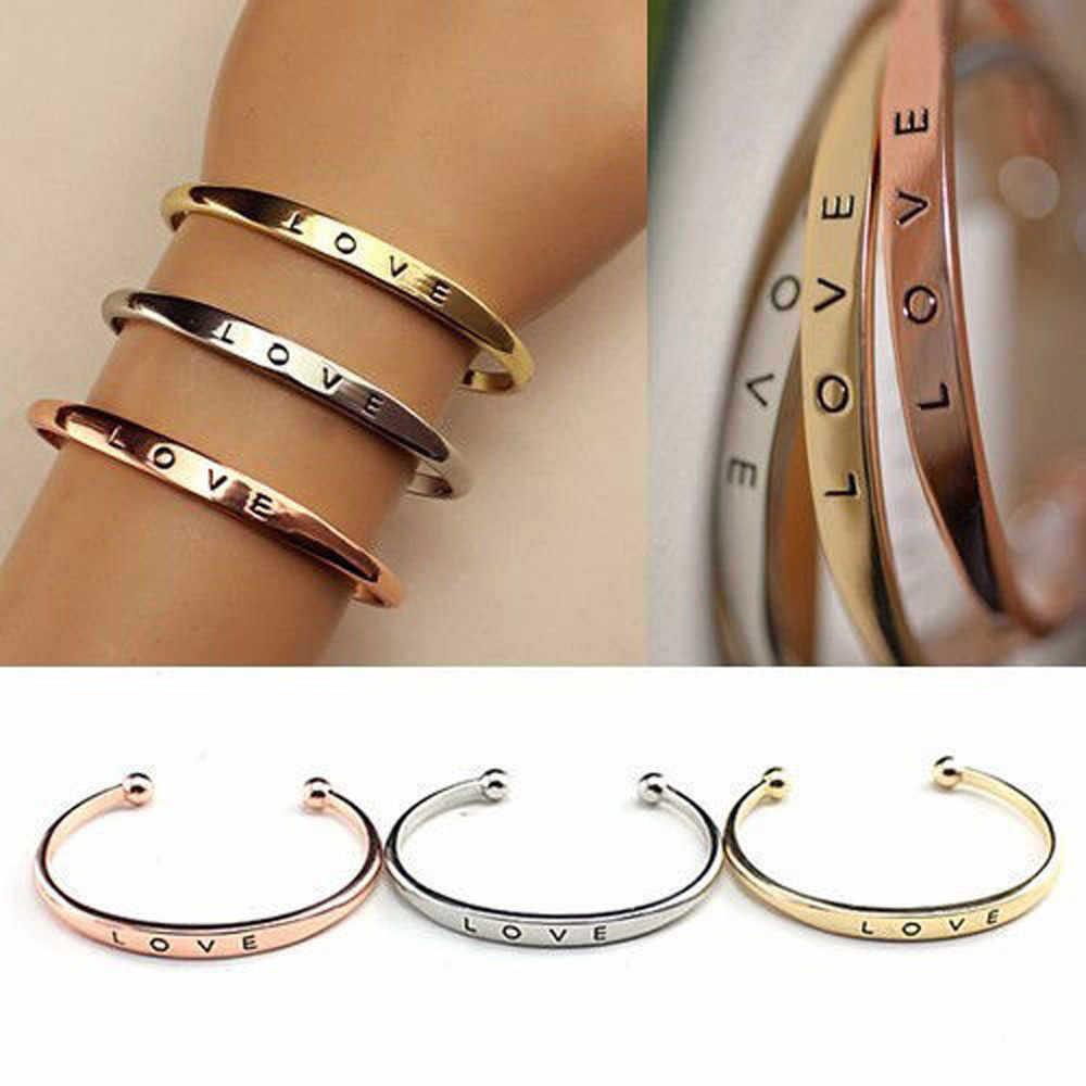 Exquisite Crystal Cuff Bracelet Brand Open 1pcs Style Women Men'S Hand Love Letter Cuff Bangle Jewelry Gift Letter Best Zircon