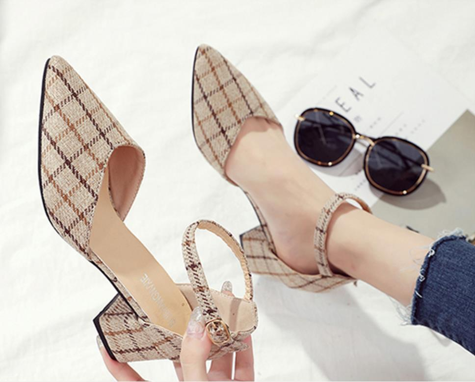 shoes women black high heels mujer 2019 new plaid flannelette sexy hollowed-out thin pointed chunky beige single shoes wedding Сникеры