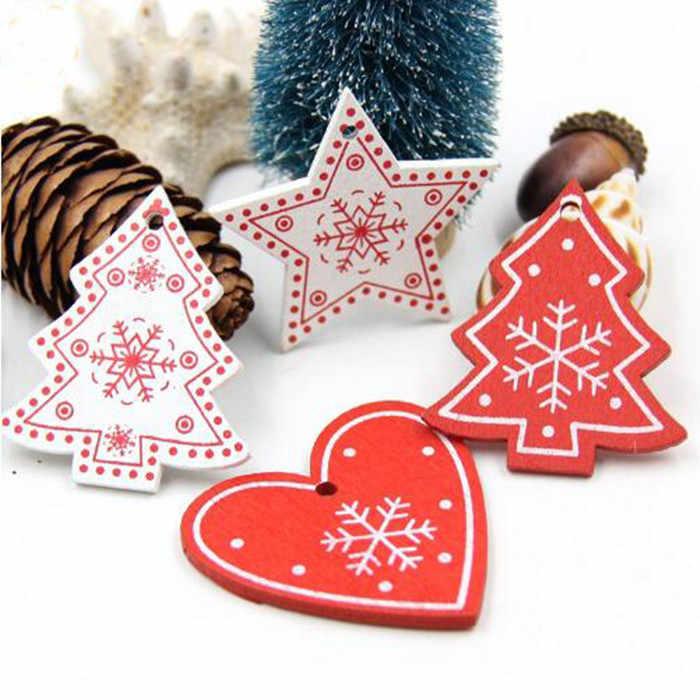10Pc Christmas Snowflakes Wooden Pendants Xmas Tree Ornaments Home Hanging Decor