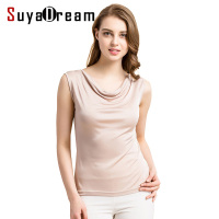 100 REAL SILK Women Tanks Solid Knitted Healthy Tank Tops Draped Neck Silk Vest 2017 Summer