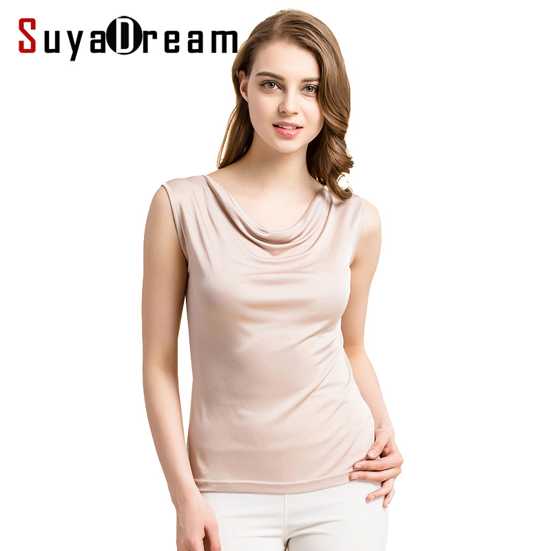 100%REAL SILK Women   Tanks   Solid knitted healthy   Tank     tops   draped neck Silk Vest 2019 Summer Bottoming shirt White Black Gray