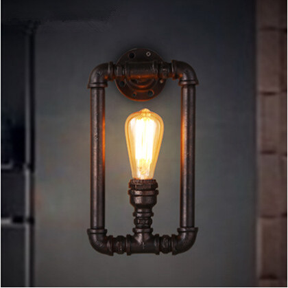 Edison Antique Loft Style Industrial Wall Light Iron Water Pipe Wall Lamp Fixtures For Home Lightings Bar Lamparas De Pared iwhd loft style iron water pipe pendant light fixtures hemp rope edison vintage industrial lighting hanging lamp lamparas pared