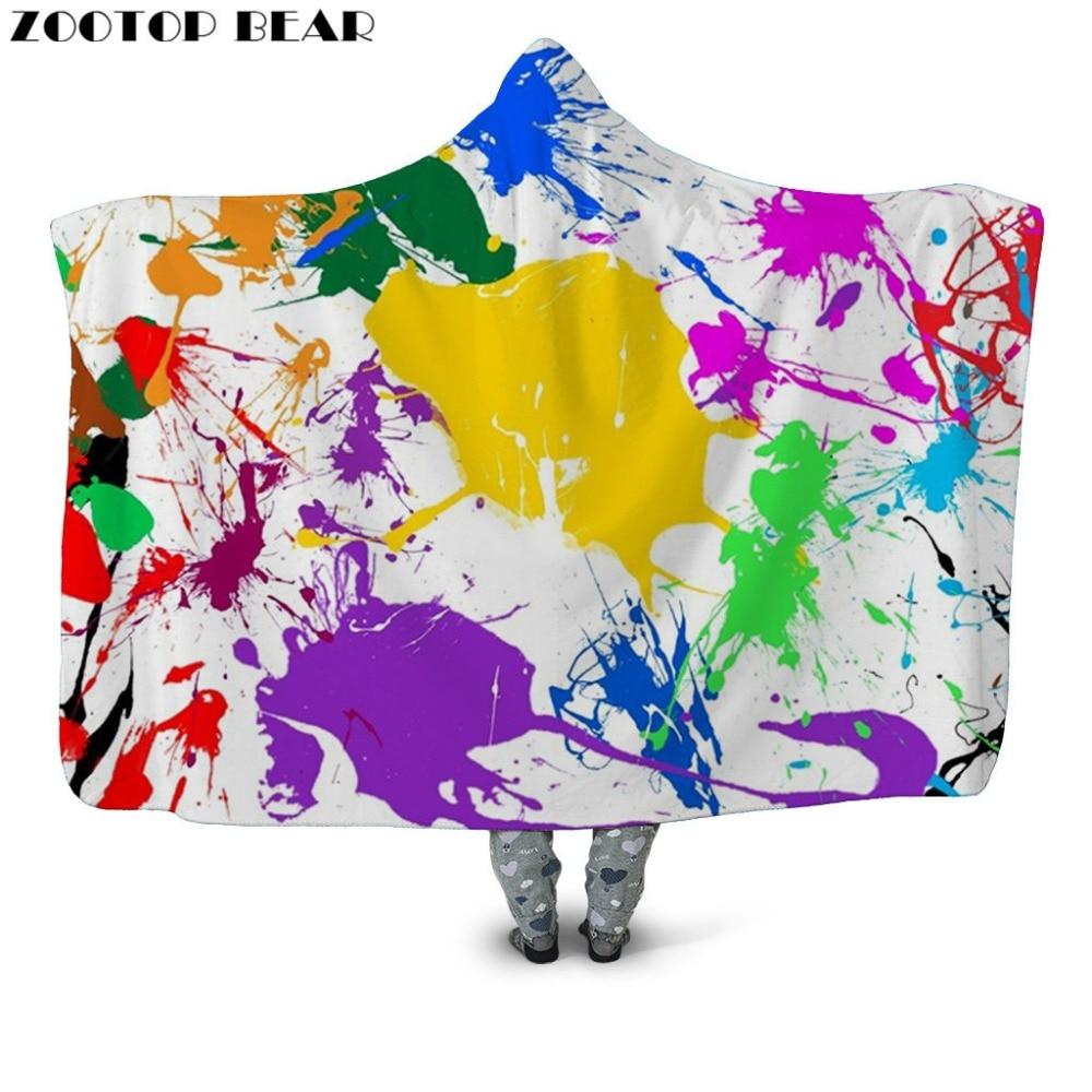 Moda Fai Da Te Graffiti Con Cappuccio Coperta Ufficio Trapunte E Piumoni Divano Biancheria Da Letto Cappotto Adulti Wearable 3d Stampato Viaggio Aereo Mantello Cappotti Rapida Dissipazione Del Calore