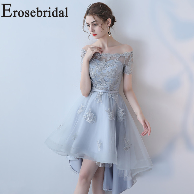 Erosebridal High Low   Prom     Dress   2019 New Party Gowns with Lace Up Back Simple Appliques Bodice Short Sleeve 48 Hours Shipping
