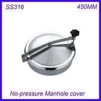 Новое поступление 450 мм SS316L круговой крышка люка нет давления круглый бак люка двери Высота: 100 мм