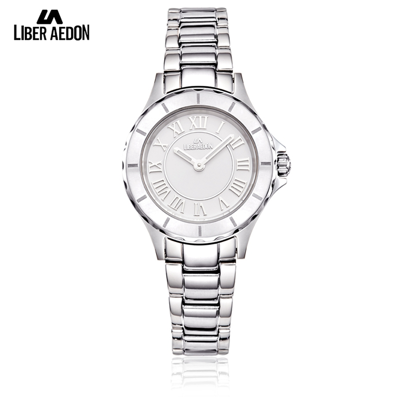 Liber Aedon Fashion Stainless Steel Women Watch Silver Top Brand Dress Wrist Watch Casual Quartz Ladies Watches Relogio Feminino women watches fashion watch ladies women stainless steel rhinestone quartz wrist oval casual dress women s wristwatches 2017