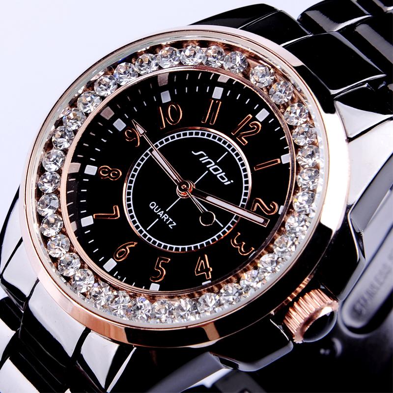 Prix pour Nouveau SINOBI Bling Diamant Strass De Luxe En Céramique-Blanc Style Dames Robe Montre de Mode De Femmes Montre-Bracelet Relogio Feminino Cadeau