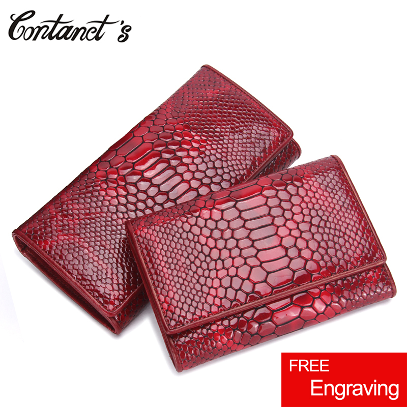 Luxury Brand Women Clutch Wallets Genuine Leather Snake Pattern Print Long Coin Purse Female Cell Phone Holder Bag Dollar Price brand double zipper genuine leather men wallets with phone bag vintage long clutch male purses large capacity new men s wallets