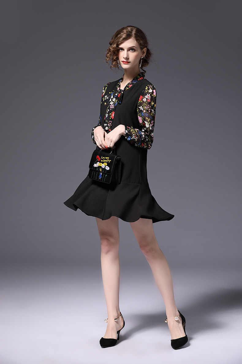 d0d929a7f677 Модные осенние Для женщин Цветочный прямое платье плюс размер Для женщин  Ложные два шить красивое с