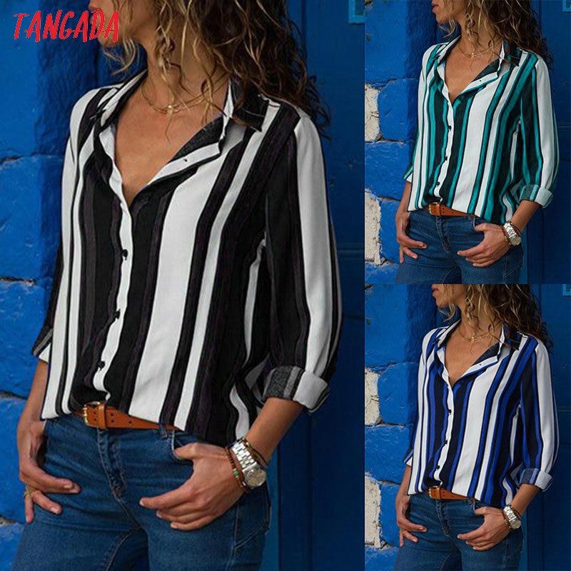 Tangada women blouse shirt floral autumn long lseeve boho chiffon blouse big size stripe casual ladies tops female clothing aon2 5