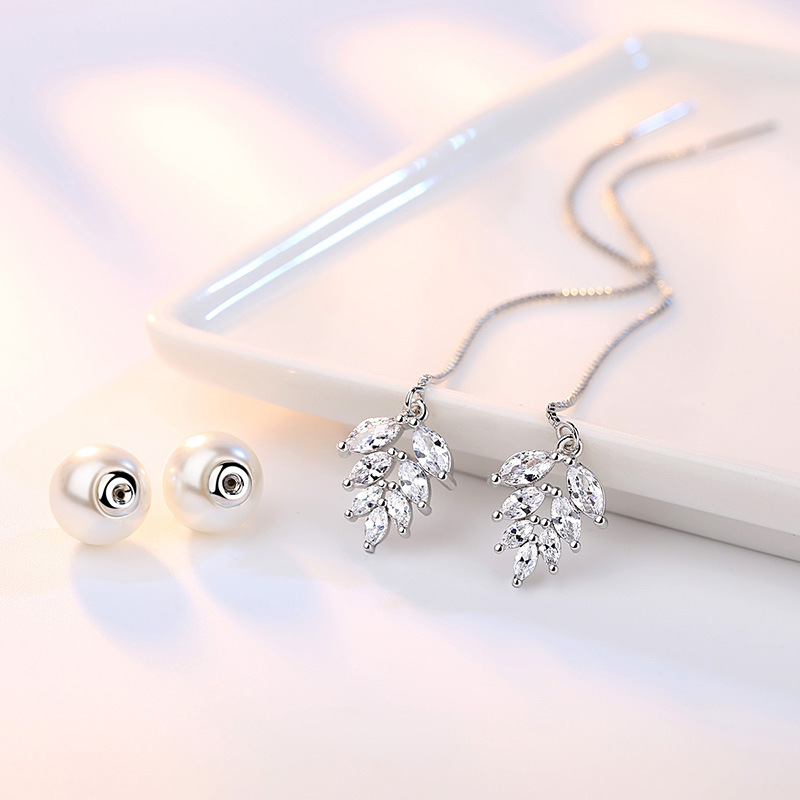100 925 sterling silver shiny crystal ice flower imitation pearl ladies stud earrings jewelry women wedding gift Anti allergy in Stud Earrings from Jewelry Accessories