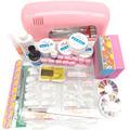 Professional False Nail Art Tips Gel Deco Tools Kit 9W UV Dryer Lamp Tube Set