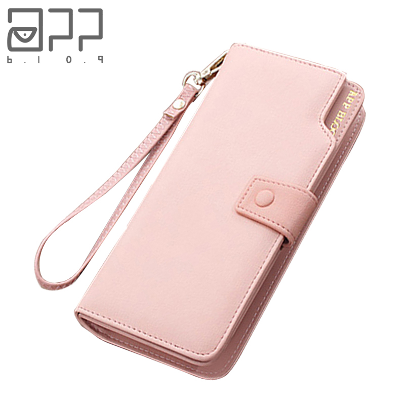 APP BLOG Luxury Brand female Women's Purse Long Fashion Clutch Leather Wallet High Quality Phone Key Card Holder Bag With Strap image