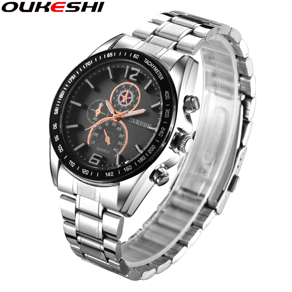Full Stainless Steel Watch OUKESHI Brand Fashion Business Men Watches Casual Quartz Wrist Watches Relogio Masculino Clock OKS28 2016 hot sale fashion brand men watch stainless steel band quartz wrist watch casual business watch relogio masculino clock