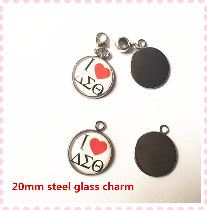 HOT 20mm Eu amo charme collar OPC036 DST delta sigma pulseira colar do  grânulo de vidro 89b2c4e8c3d