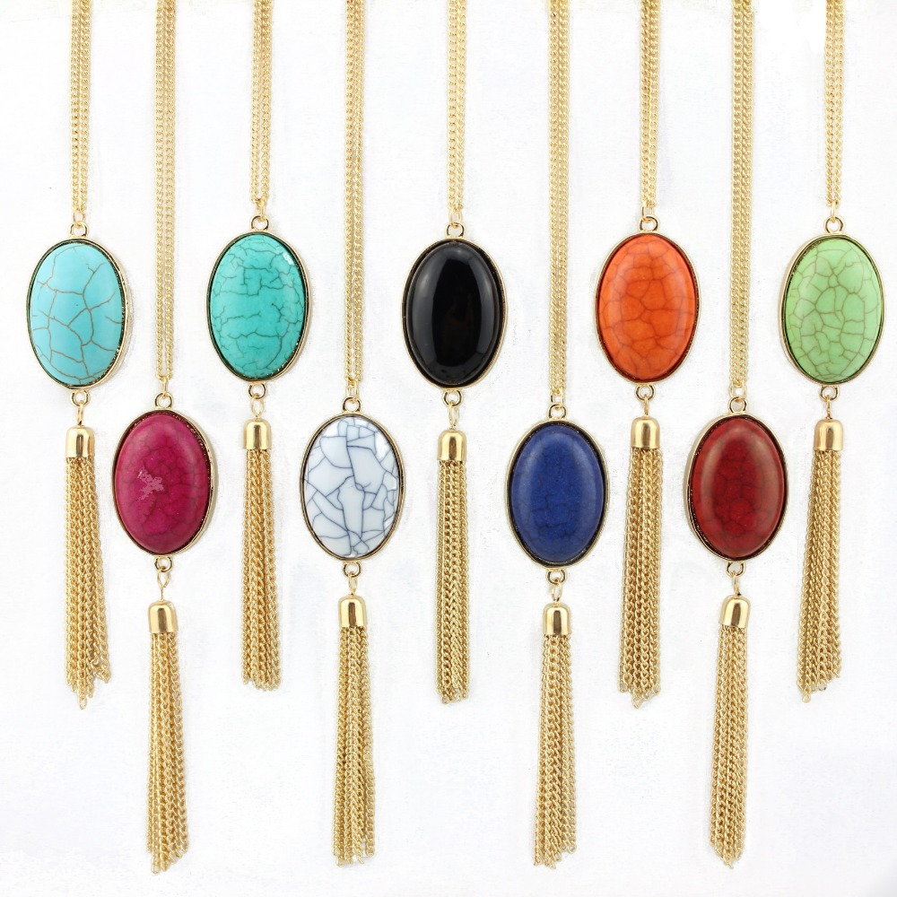 2018 Oval Natural Stone Necklace Gold Silver Chain Tassel Necklace Fashion Female Boho Jewelry Long Necklace for Women Wholesale