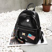 A20B2 Preppy Patch School Bags For Girl Teenages Woman S Leather Backpack Mochila Escolar Badge Appliques