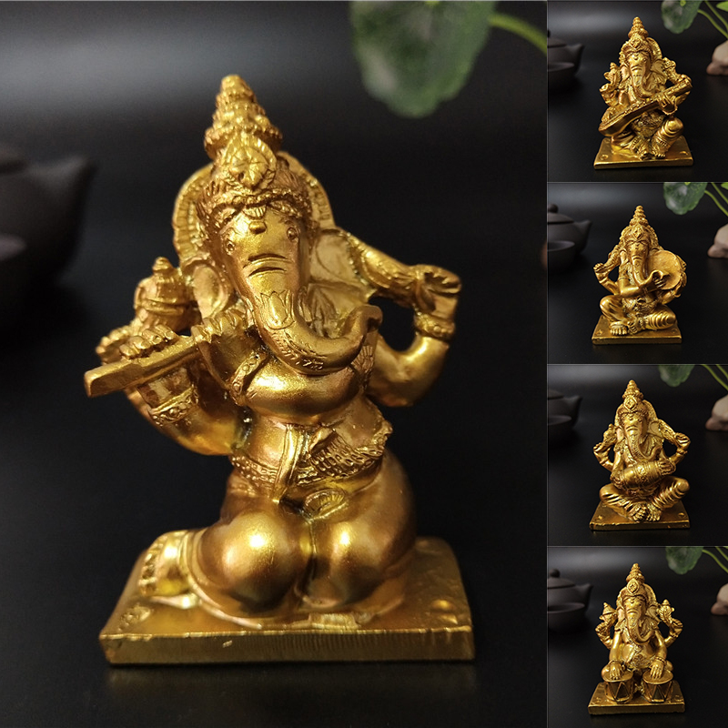 Golden Lord Ganesha Buddha Statue Playing Music Elephant God Sculpture Ganesh Figurines Ornaments Home Garden Decoration Buddha
