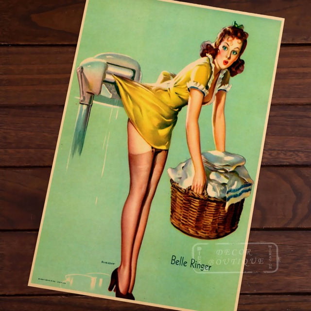 Blanchisserie Menage Pop Art Vintage Pin Up Girl Affiche Classique