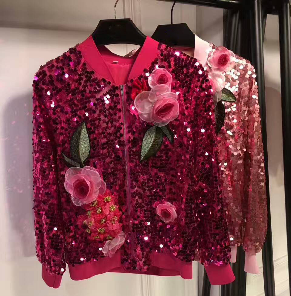 Light and extnavagant flowers three dimensional applipue zipper jacket classic style unipue fashion amazing famale jacket