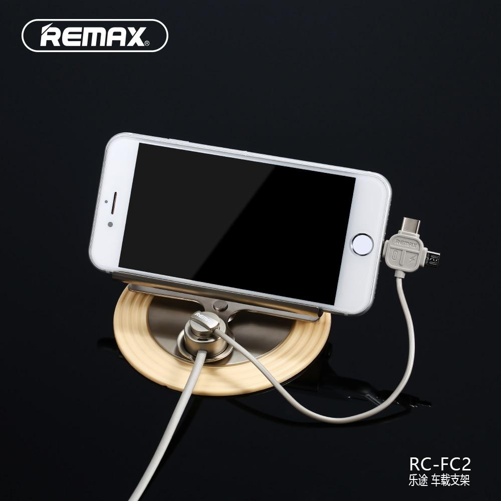 imágenes para Remax 3 en 1 Cabeza Cabale Coche Universal Del Teléfono Móvil Teléfono titular de la micro usb de tipo c para el iphone samsung xiaomi teléfono soporte para coche
