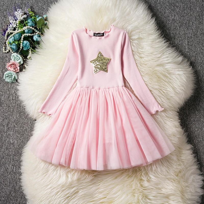 HTB17nkVaKP2gK0jSZFoq6yuIVXa3 Kids Long Sleeve Lace Drsses for Girls Party Dress Star Printed Birthday Tutu Dresses Children Casual Wear 3 6 8 Years Vestidos