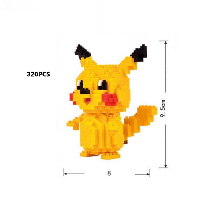 Funny cartoon game image micro diamond building block Pikachu Psyduck Charmander Meowth Magikarp Geodude nanoblock bricks toys
