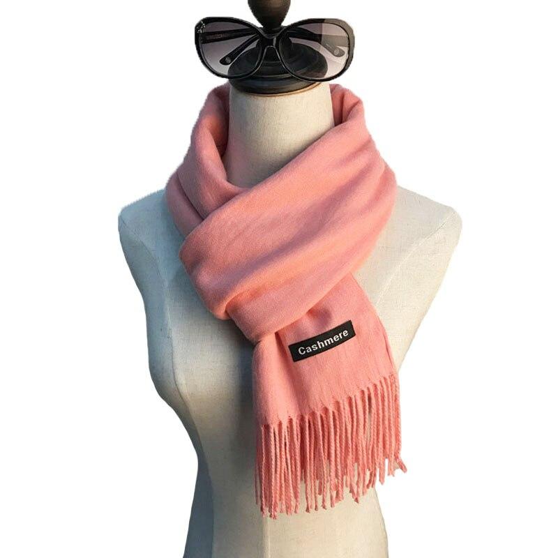 2017 Automne Hiver Écharpe En Cachemire Femmes Solide Couleur Glands Couverture Écharpe Châles De Base Femmes de Foulards et Enveloppements