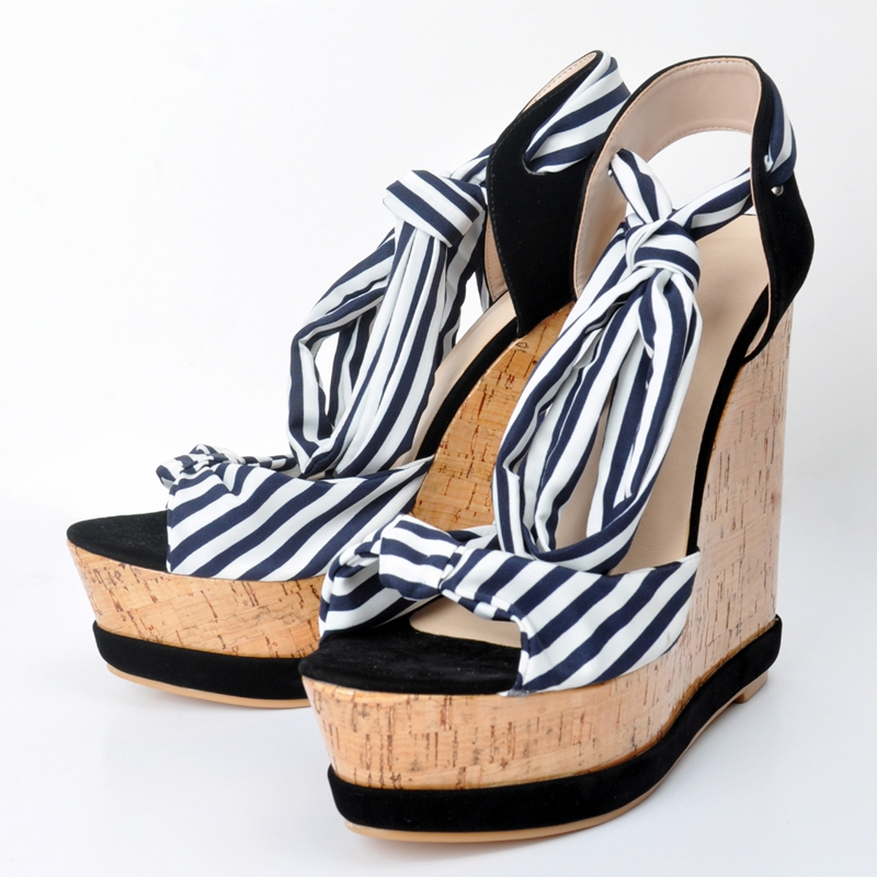 679d84abfc66 Gingham Women Wedge Heels Plus Size 34 45 Platform High Heels Open ...