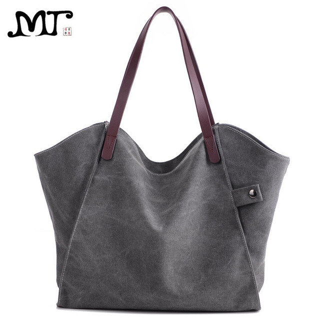 Mj Women Canvas Bag Simple Casual Female Handbag Large Hobo Shoulder Capacity Tote