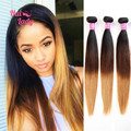 7A Brown Ombre Hair 3 Three Tone Brazilian Virgin Hair Weave Straight 3pcs Lot Blonde Ombre Human Hair Extensions Can Dye