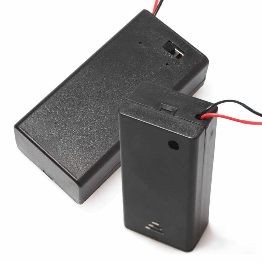 Toptan 100 adet/grup Pil Tutucu 9 V Plastik Pil Konteyner/OFF Anahtarı Düğmesi Lehimleme Için Bağlantı