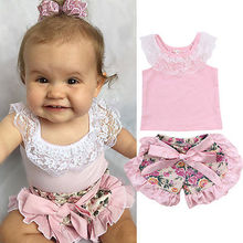 Kids Baby Girl Lace Tops T-shirt Silk Ruffles Floral Shorts Pants Outfits Set 3-24 months pink