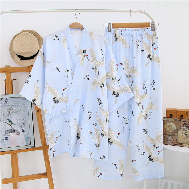 Women's   Pajama     Sets   Japanese Print Yukata Underwear Kimono Robe Gown Cotton Suits Nightgown Sleepwear Bathrobe Leisure Homewear