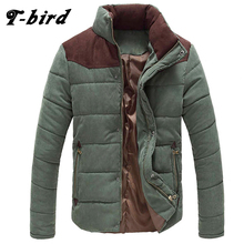 T-bird New Brand Clothing Winter Jacket Men Warm Causal Parkas Cotton Banded Collar Winter Jacket Male Padded Overcoat Outerwear