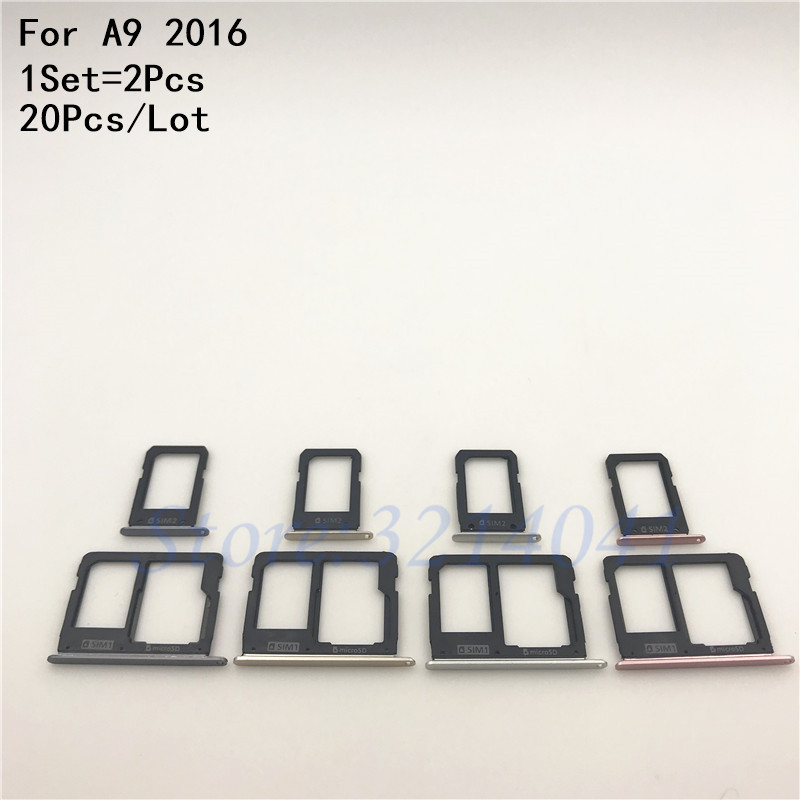 20Pcs/Lot SIM Card Tray Slot Holder Adapter + Micro SD Card Holder For Samsung Galaxy A9 2016 A910 A9 Pro