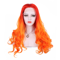 Synthetic Lace Front Wigs Natural Wave Red to Orange Tones Ombre Glueless Fiber Hair with Free Parting